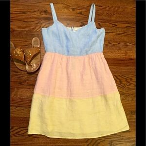 Cynthia Rowley 100% Linen Sundress Pastel Stripes